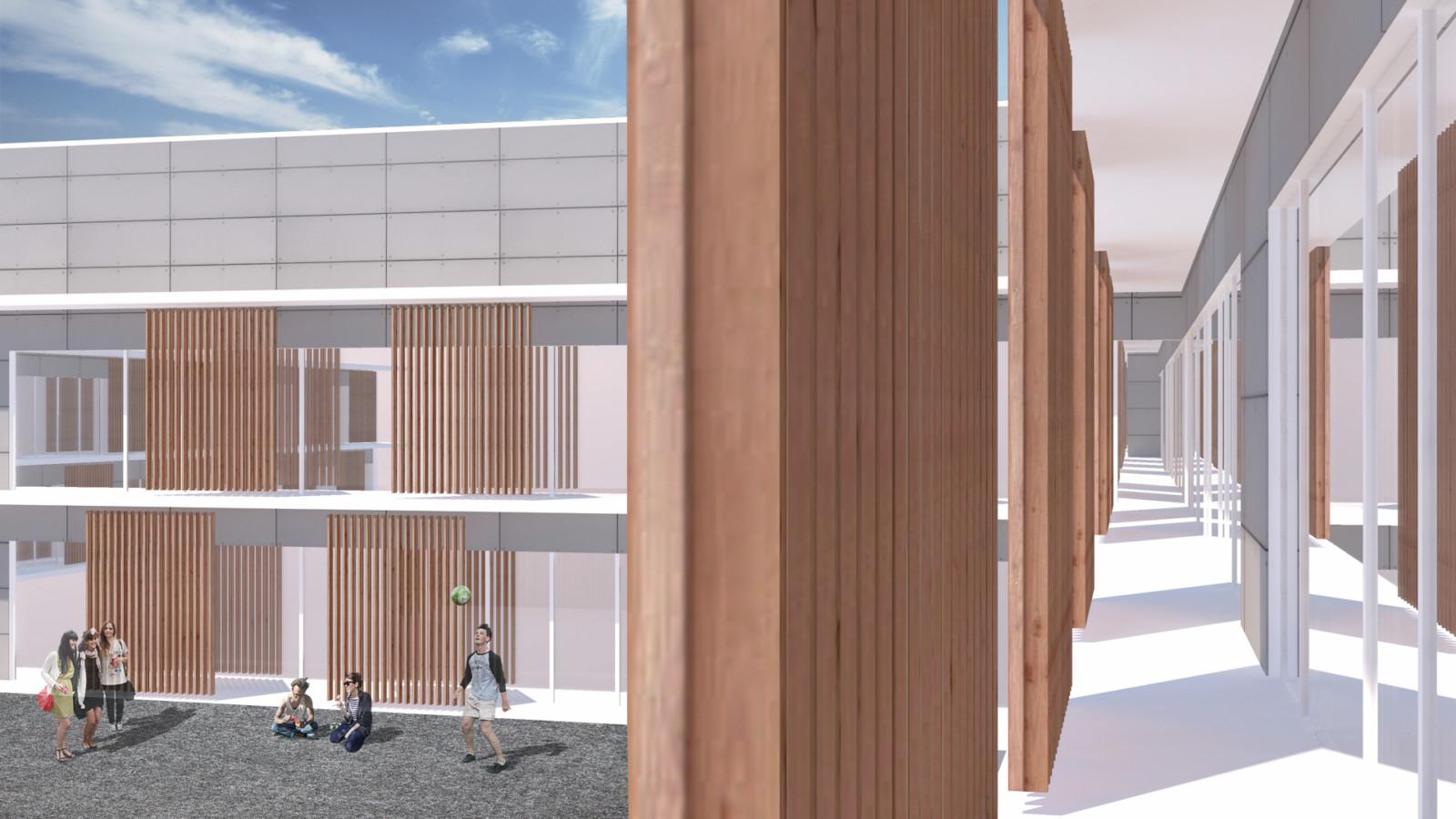 Fassadenvisualisierung Bildungscampus, erstes Konzept