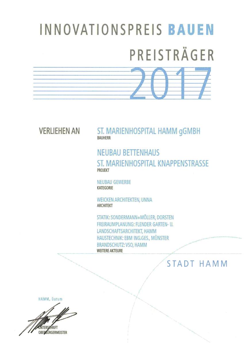 Innovationspreis Bauen 2017 Hamm, Urkunde - St. Marien-Hospital Hamm