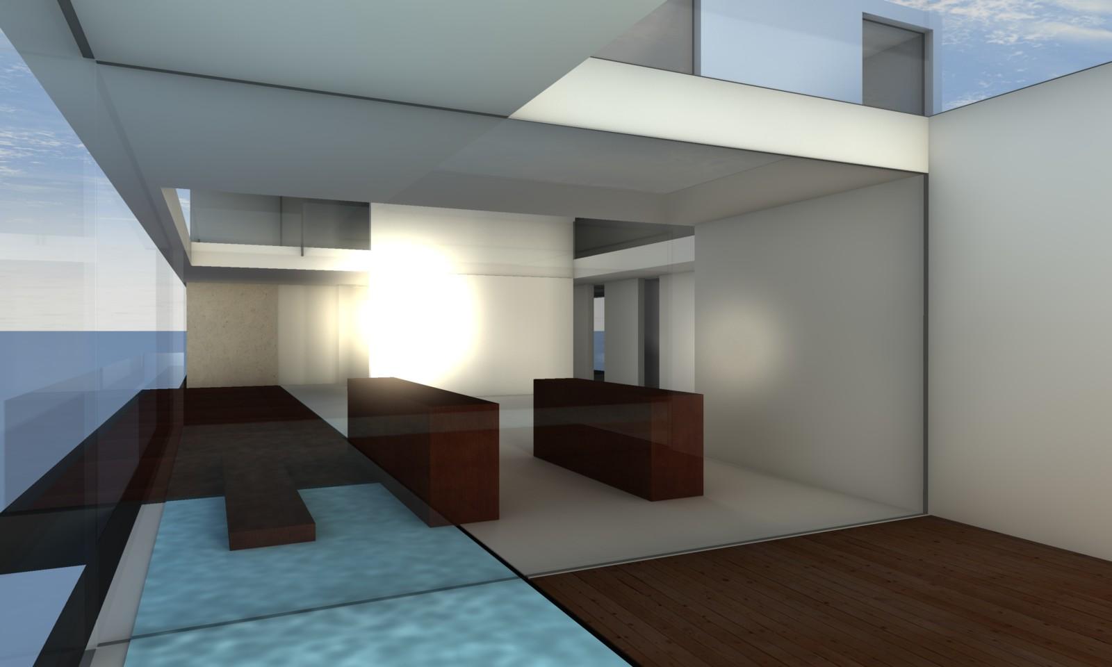 Visualisierung Penthouse mit Bibliothek und Dachterrasse