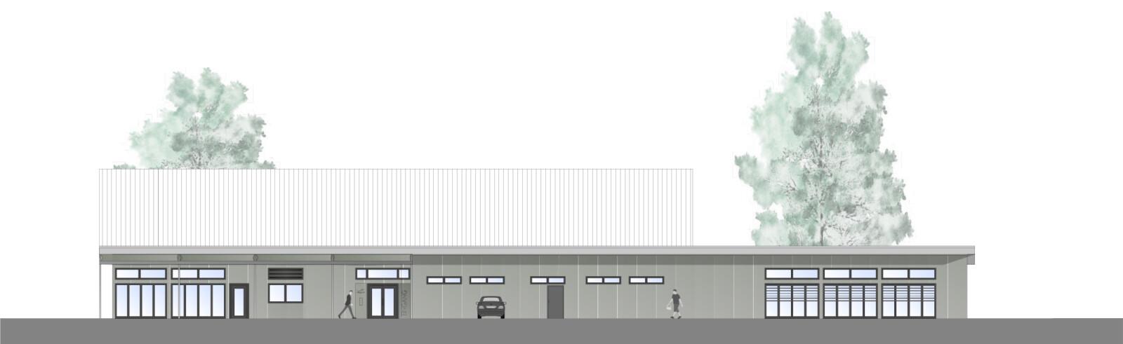 Tennishalle Unna: Entwurf für die Südost-Ansicht