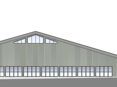 Tennishalle Unna: Entwurf für die Südwest-Ansicht