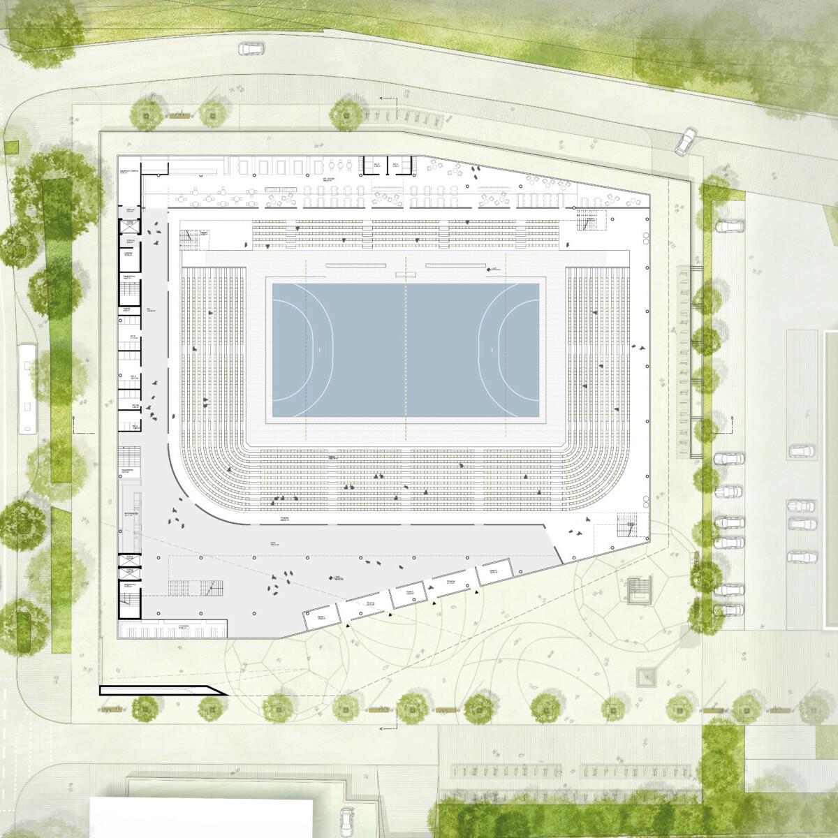 Wettbewerb Sporthalle Dortmund: Grundriss Ebene 1