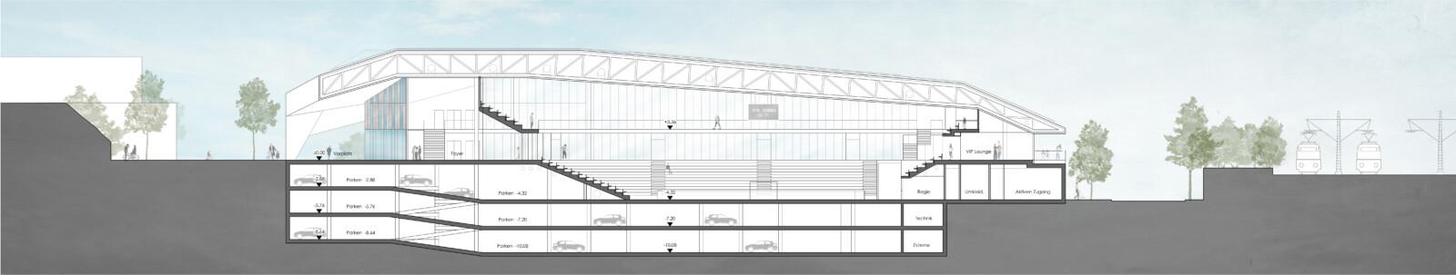 Wettbewerb Sporthalle Dortmund: Schnitt