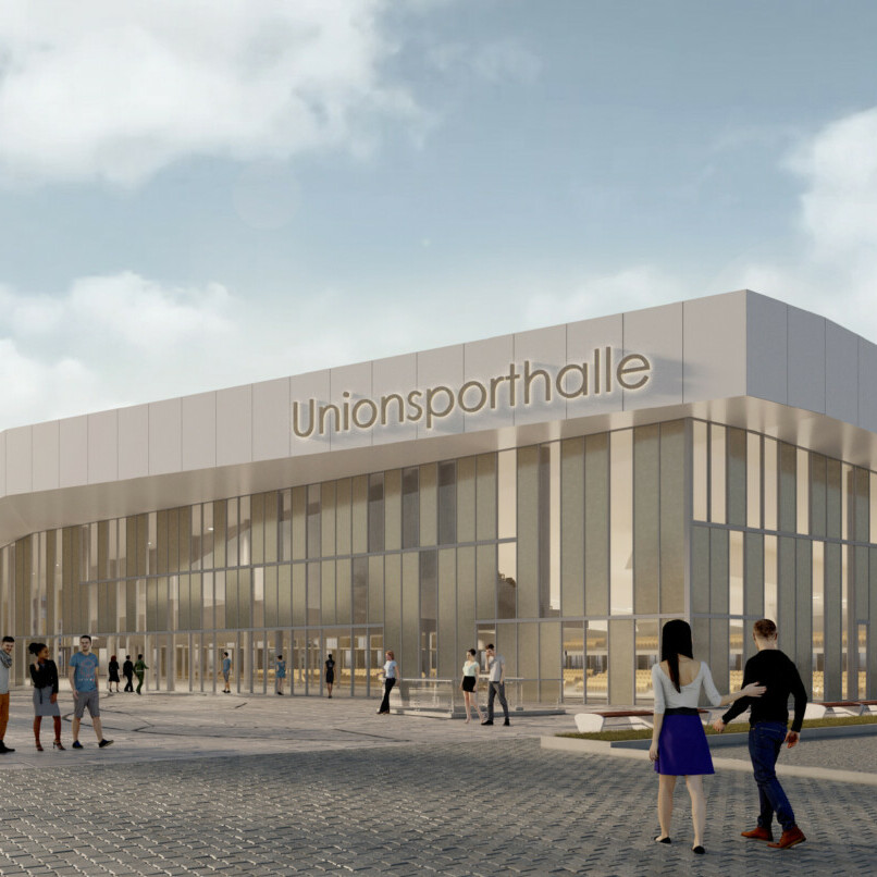 Wettbewerb Sporthalle Dortmund: Visualisierung Haupteingang